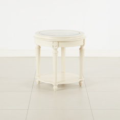 Kesha Carved End Table with Glass Top