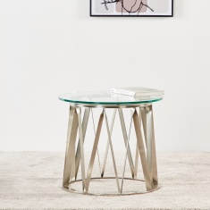 Vector End Table With Glass Top Silver Metal