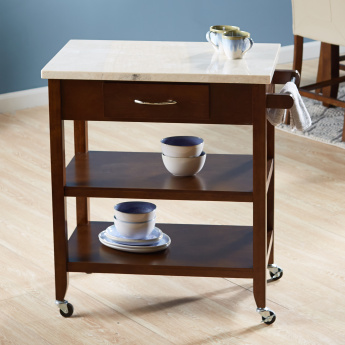 Ken 1-Drawer Kitchen Cart with Marble Top