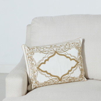 Palace Exotica Beaded Filled Cushion with Zip Closure - 35x50 cms