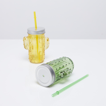 Cactus 2-Piece Beverage Mug with Lid and Straw - 400 ml