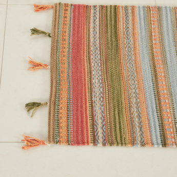 Ethnic Textured Dhurrie with Tassels - 60x90 cms