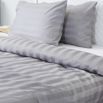 Satin Striped 3-Piece Full Duvet Cover Set - 160x200 cms