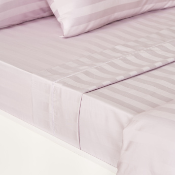 Satin Striped Super King Flat Sheet - 260x270 cms