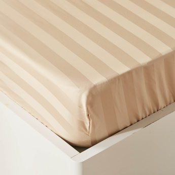 Satin Striped King Fitted Sheet - 180x210 cms
