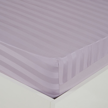 Satin Striped Super King Fitted Sheet - 200x210 cms