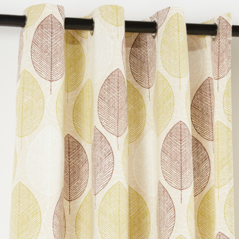 Leaves Printed Curtain Pair - 135x240 cms