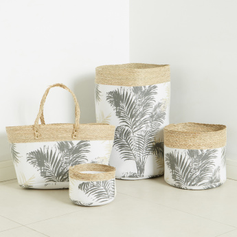 Palm Leaf Printed Storage Bag with Twin Handles