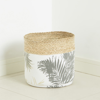 Palm-Leaf Printed Storage Basket