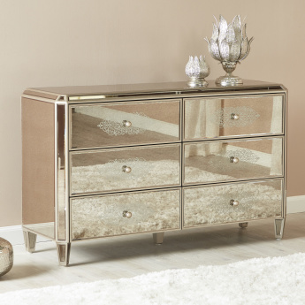 Jewel Mirrored 6-Drawer Dresser