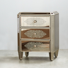 Jewel Mirrored 3-Drawer Nightstand