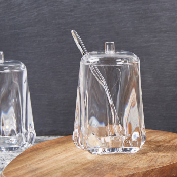 Sheffield Clear Sugar Jar with Lid and Spoon
