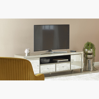 Domino 2-Door 2-Drawer Mirrored TV Unit