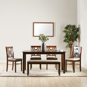 Olten 6 Seater Dining Table Set With Bench Brown Mdf