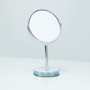 Bassa Round Table Mirror with Stand and Cutout Detail