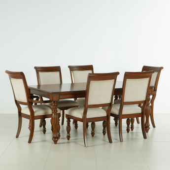 Cape 6 Seater Dining Table Set Brown Mdf