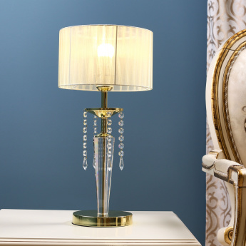 Medalion Metal Table Lamp with Crystals