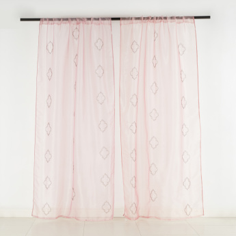 Organza Trellis Sheer Curtain Pair - 135x240 cms