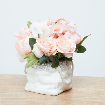 Wishness Peony and Rose in Basket Vase