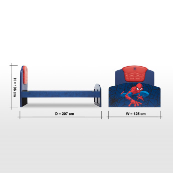 Disney Spider-Man Printed Full Bed with Headboard - 207x125 cms
