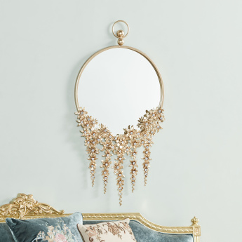 Landria Wall Mirror with Metallic Flowers