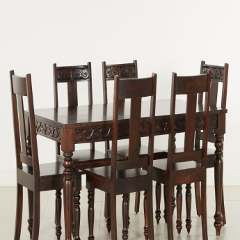Maharaja 6 Seater Dining Table Set Walnut Wood