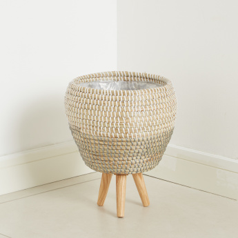 Clyde Seagrass Planter with Wooden Legs