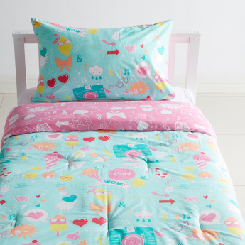 Emoji Printed 2-Piece Single Comforter Set - 135x220 cms