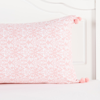Damask Printed Cushion Cover with Pompoms - 40x65 cms