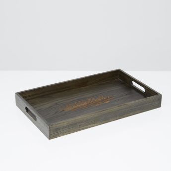 Keokuk Glaze Chinese Ash Serving Tray with Cutout Handles