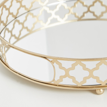 Malaha Circular Decorative Tray with Cutout Handles