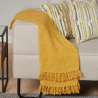 Organic Tweed Throw with Fringes - 130x170 cms
