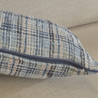 Organic Tweed Textured Checked Filled Cushion - 40x60 cms