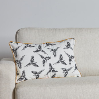Organic Lussio Parrot Printed Cushion Cover - 40x65 cms