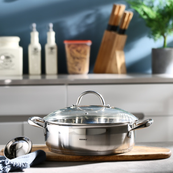 Bergner SS Gourmet Shallow Pot with Lid - 5.1 L